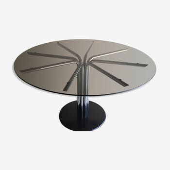 Round table 130 cm smoked glass central foot 8 branches in tubular metal