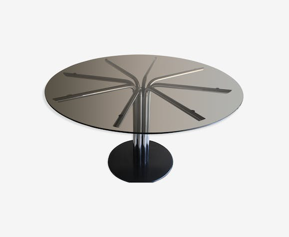 Table Ronde En Verre Pied Central.Table Ronde 130 Cm Verre Fume Pied Central 8 Branches En