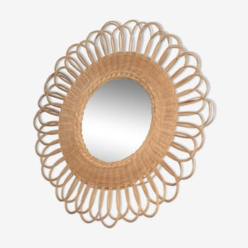 Miroir fleur en rotin/osier