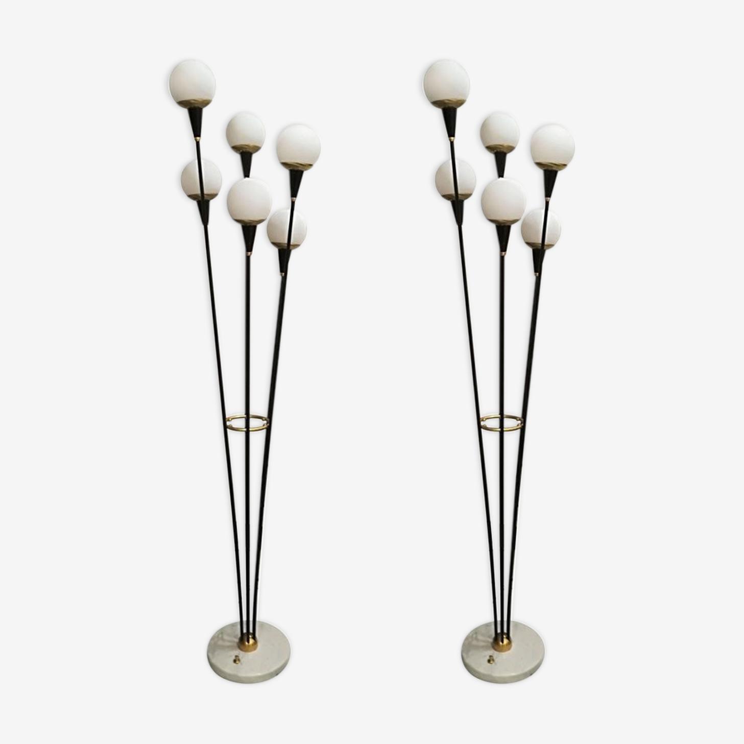 Paire de lampadaires italiens six lumières