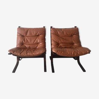 """Paire de fauteuils """"Siësta"""" en cuir par Ingmar Relling pour Westnofa Furniture Norvège"""
