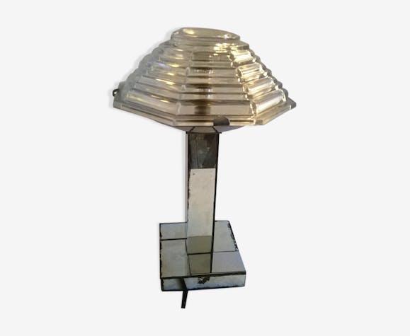 Lampe Moderniste Abat Jour Rigalux Avec Pied Miroir Metal Argent