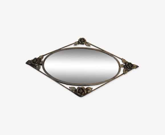 Miroir art déco en fer forgé orné de roses 92x55cm