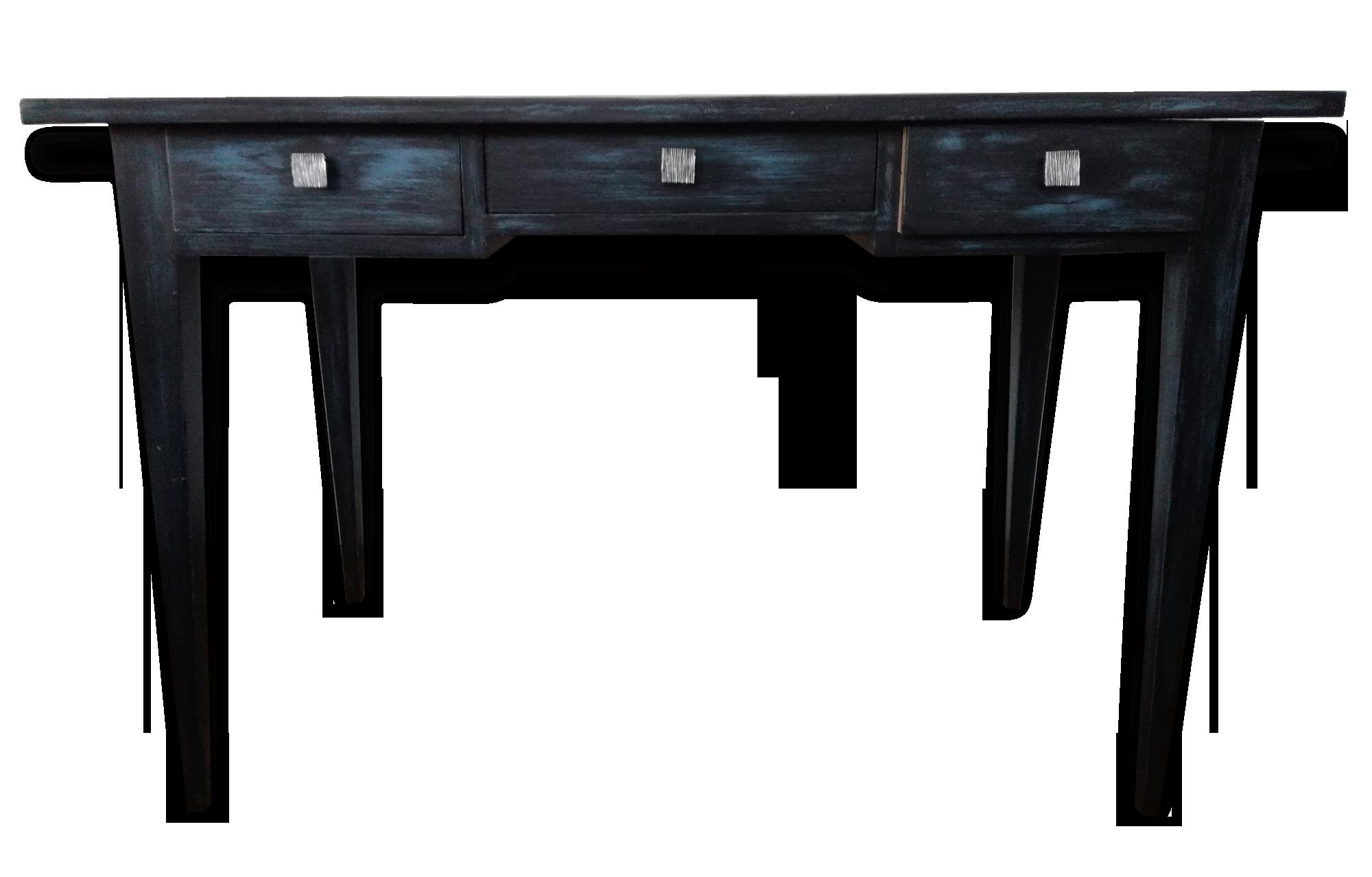 Bureau en bois peint noir patiné de bleu wood black classic