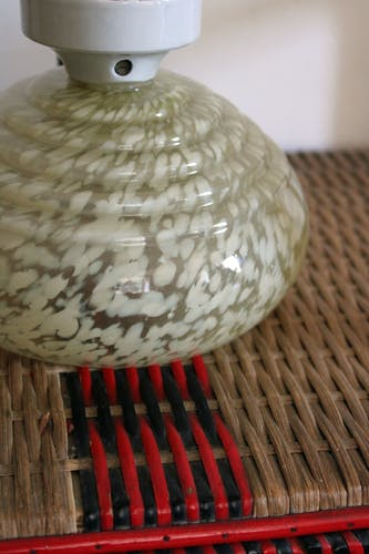 Plafonnier Art déco en porcelaine et verre de Clichy jaune