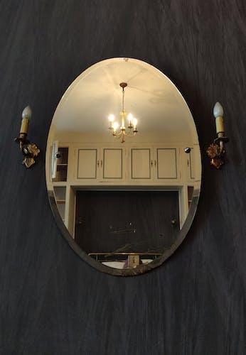 Miroir Art Déco ovale et biseauté 90x60cm