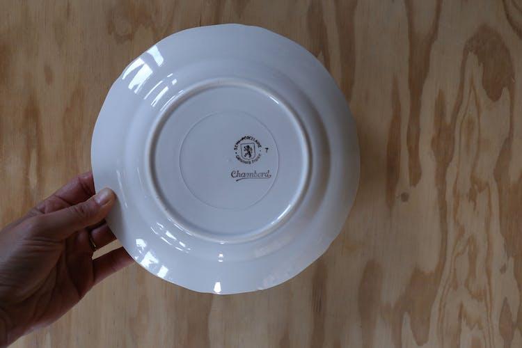 Assiettes vintage rebord aqua/menthe Ceranord