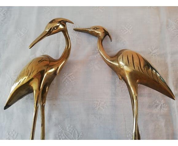 Couple de hérons laiton doré