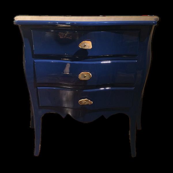 Commode bleue style Louis XV avec finition brillante