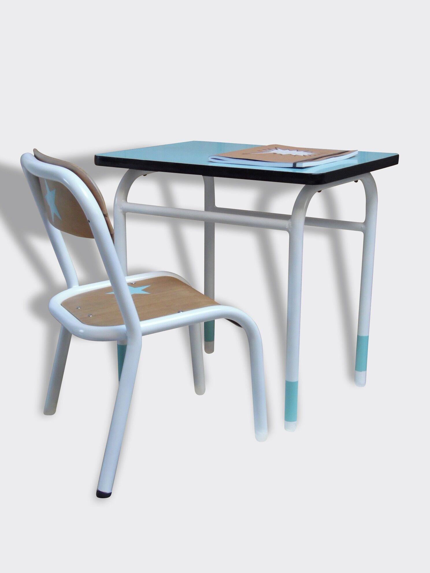 Ensemble bureau chaise de maternelle en bois et métal peint