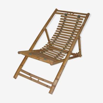 Chaise longue en rotin/bambou de 1960-70