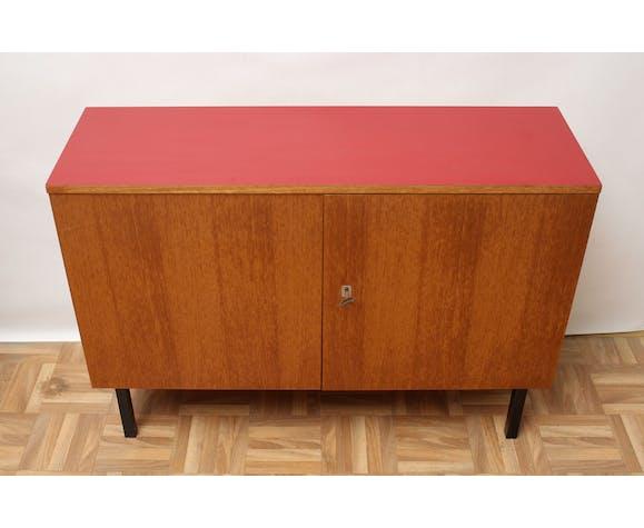 Buffet des années 1960 en teck et formica rouge