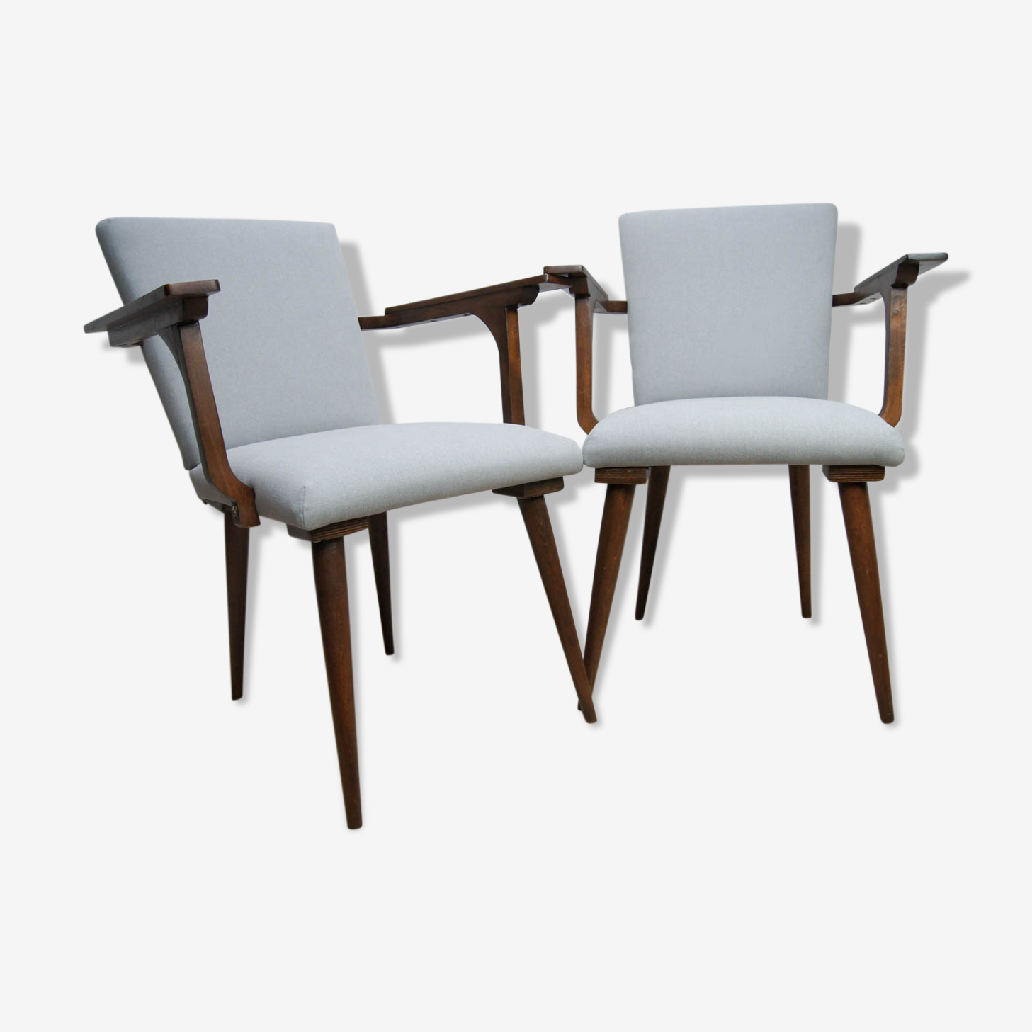 Pair of gray chairs Mid Century modernist 1970