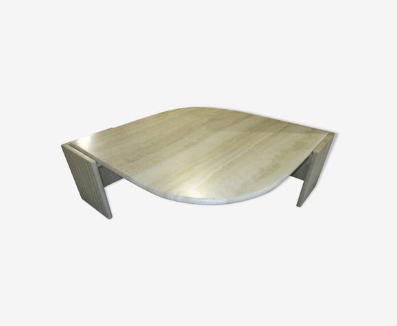 table basse roche bobois en travertin 1970 marbre beige vintage h9nwqky. Black Bedroom Furniture Sets. Home Design Ideas