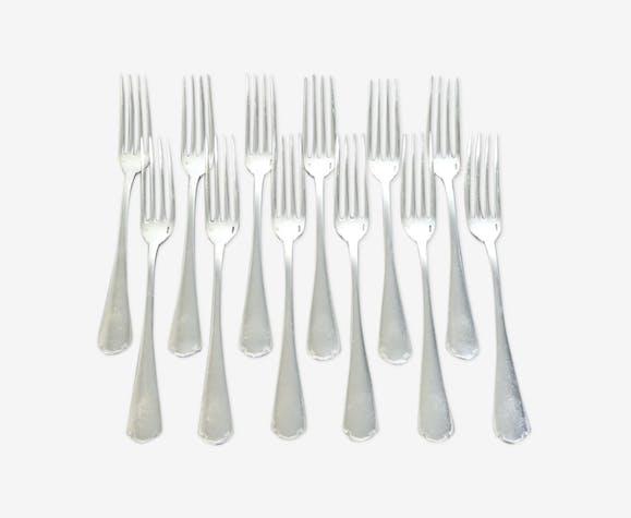 Set de 12 fourchettes a dessert ou entremets Christofle en metal argenté