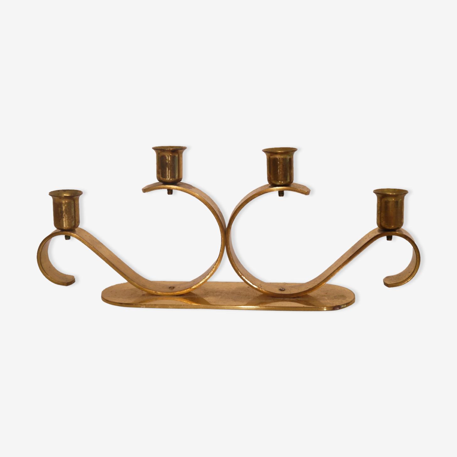 Scandinavian brass candleholder