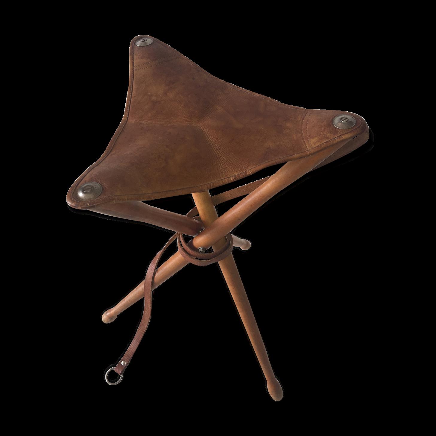 Tabouret pliable cuir et bois