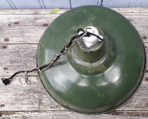 Suspension gamelle en tôle émaillée verte