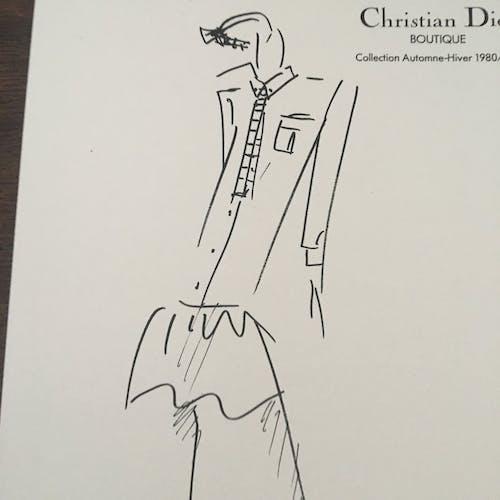 Illustration de mode de presse en noir et blanc Christian Dior 1980-1981