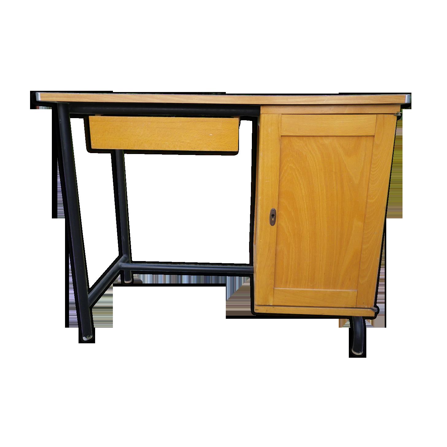 Bureau bois et métal années bois matériau bois couleur
