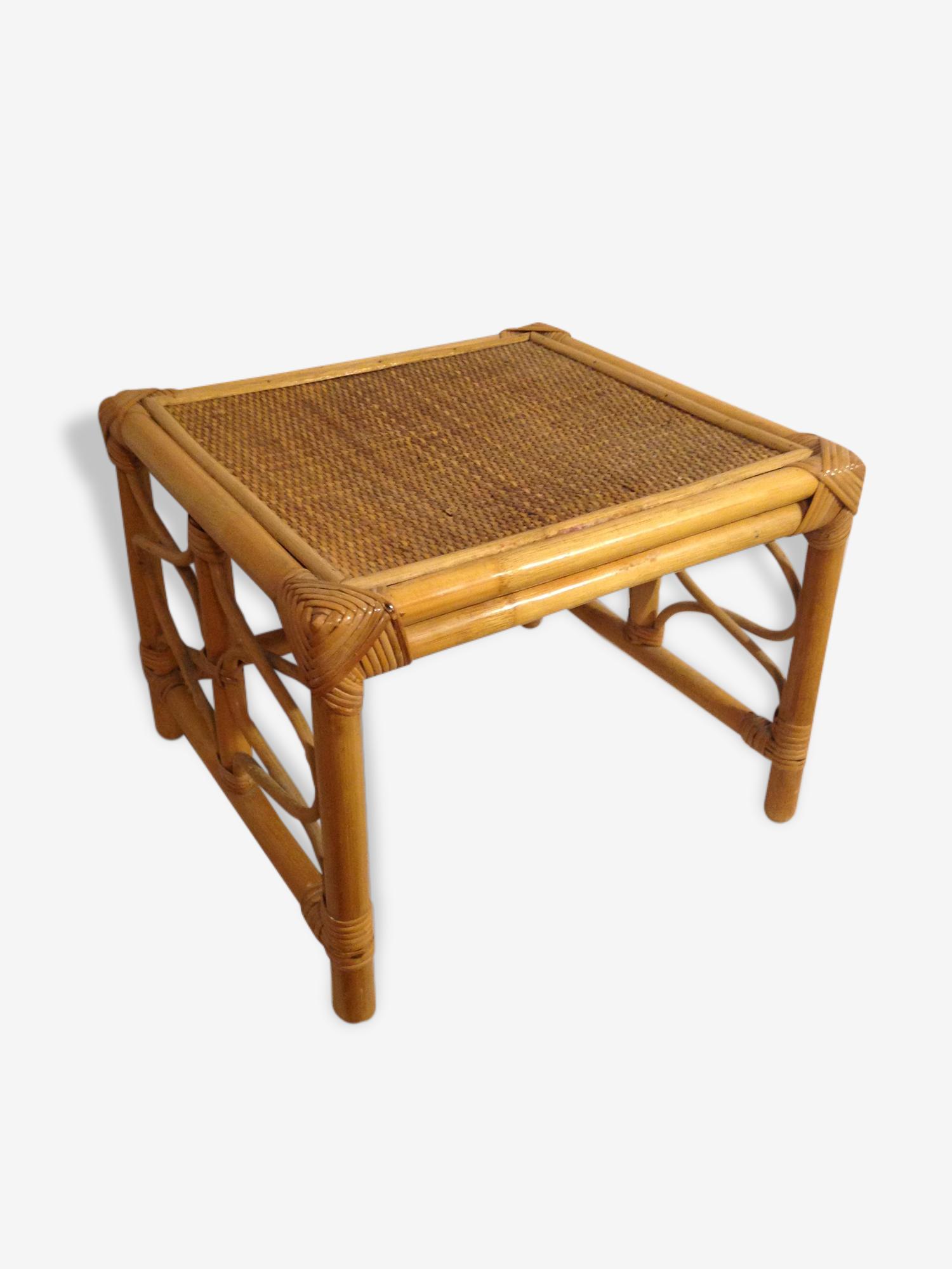 Table D'Appoint Repose Pied en Rotin Vintage Année 60