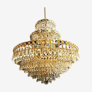 Lustre Murano cristal avec structure dorée 1950