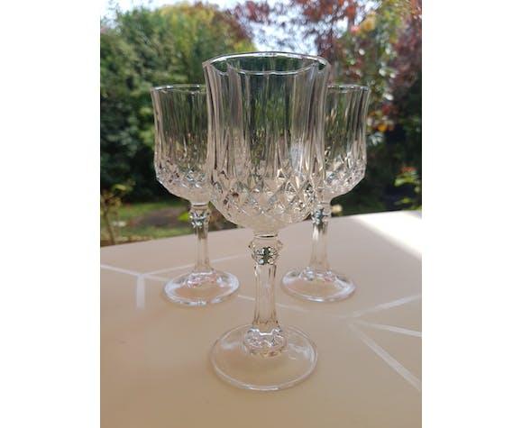 Set de 3 verres à porto en Cristal d'Arques années 1980