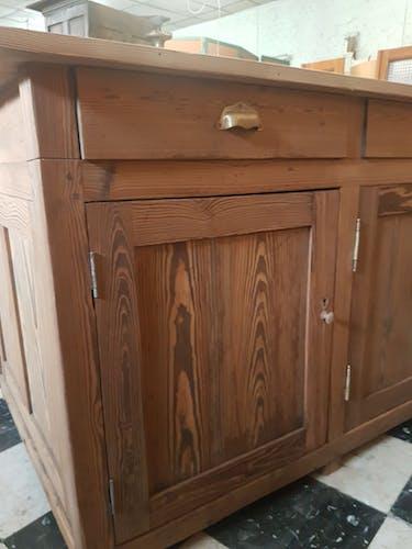 Ancien meuble ilot comptoir de métier double face