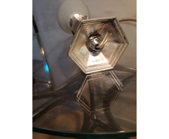 Lampe de chevet art deco en régule patiné or et tulipe verre opaque  26x10