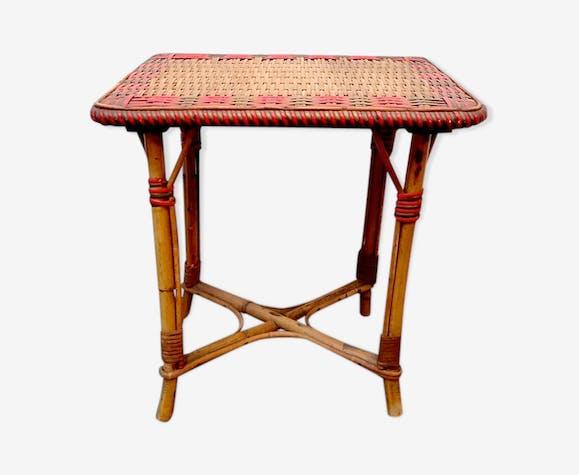 Table basse rotin vintage rouge