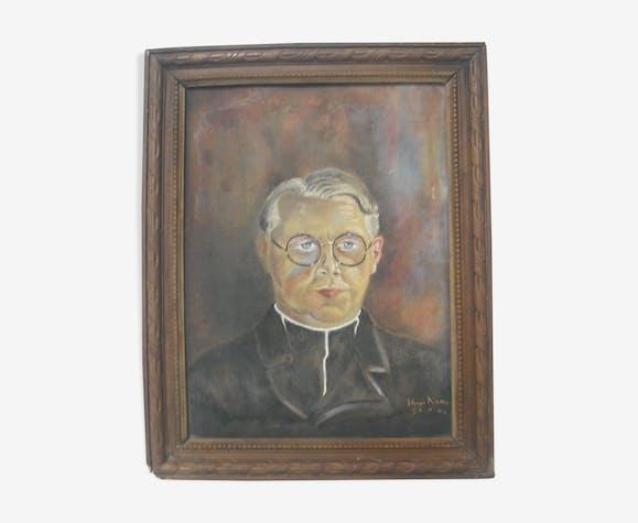 Portrait  signé, Prêtre 48/38