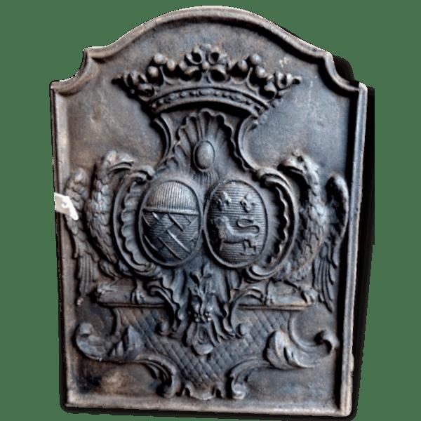 plaque de chemin e ancienne blason et couronne fleur de lys fonte noir classique 150327. Black Bedroom Furniture Sets. Home Design Ideas