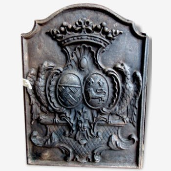 plaque de chemin e en fonte fonderie d 39 art stern blason et lys fonte gris classique 149384. Black Bedroom Furniture Sets. Home Design Ideas