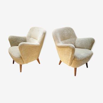 Paire de fauteuils années 50 vintage design organique