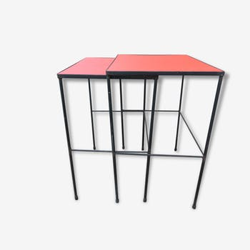 Tables pull-out red vinyl metal typical 50s 60s