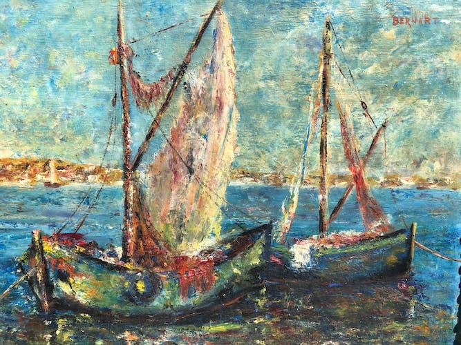 Tableau bateaux ancien