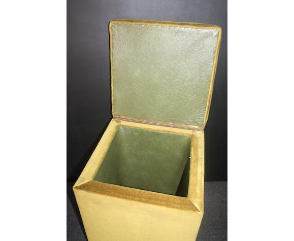 Pouf en velours vert vintage des années 60