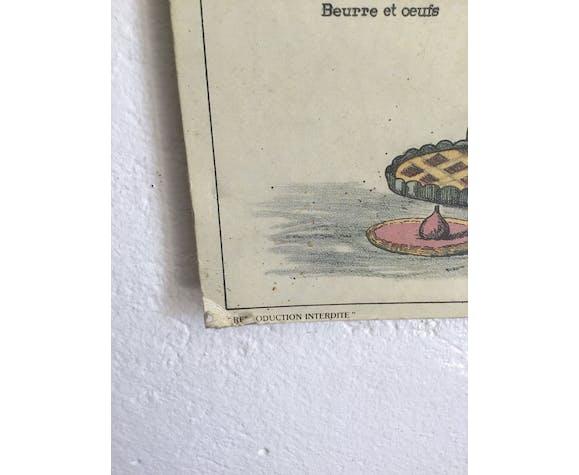 Affiche scolaire pédagogique ancienne  Le Pain