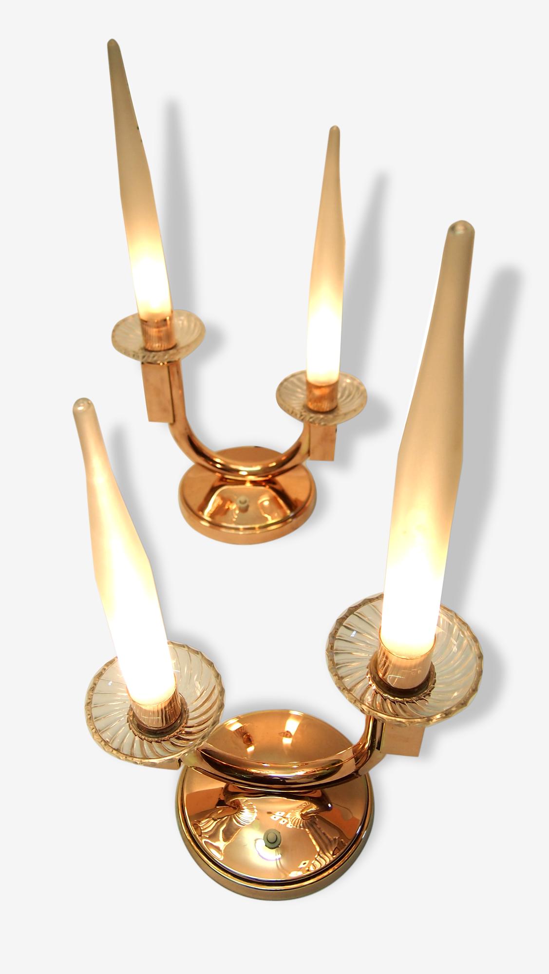 Paire lampes de table art deco Genet & Michon moderniste verre dépoli acide laiton