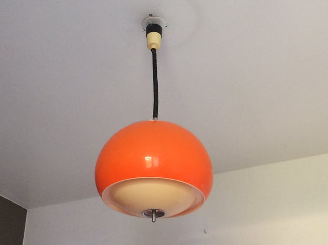 plexiglass and steel hanging lamp 1970