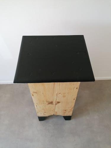Ancien meuble d'entrée sur pieds - bois brut et noir