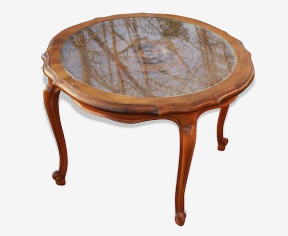 table basse ronde cann e ann es 70 bois mat riau. Black Bedroom Furniture Sets. Home Design Ideas
