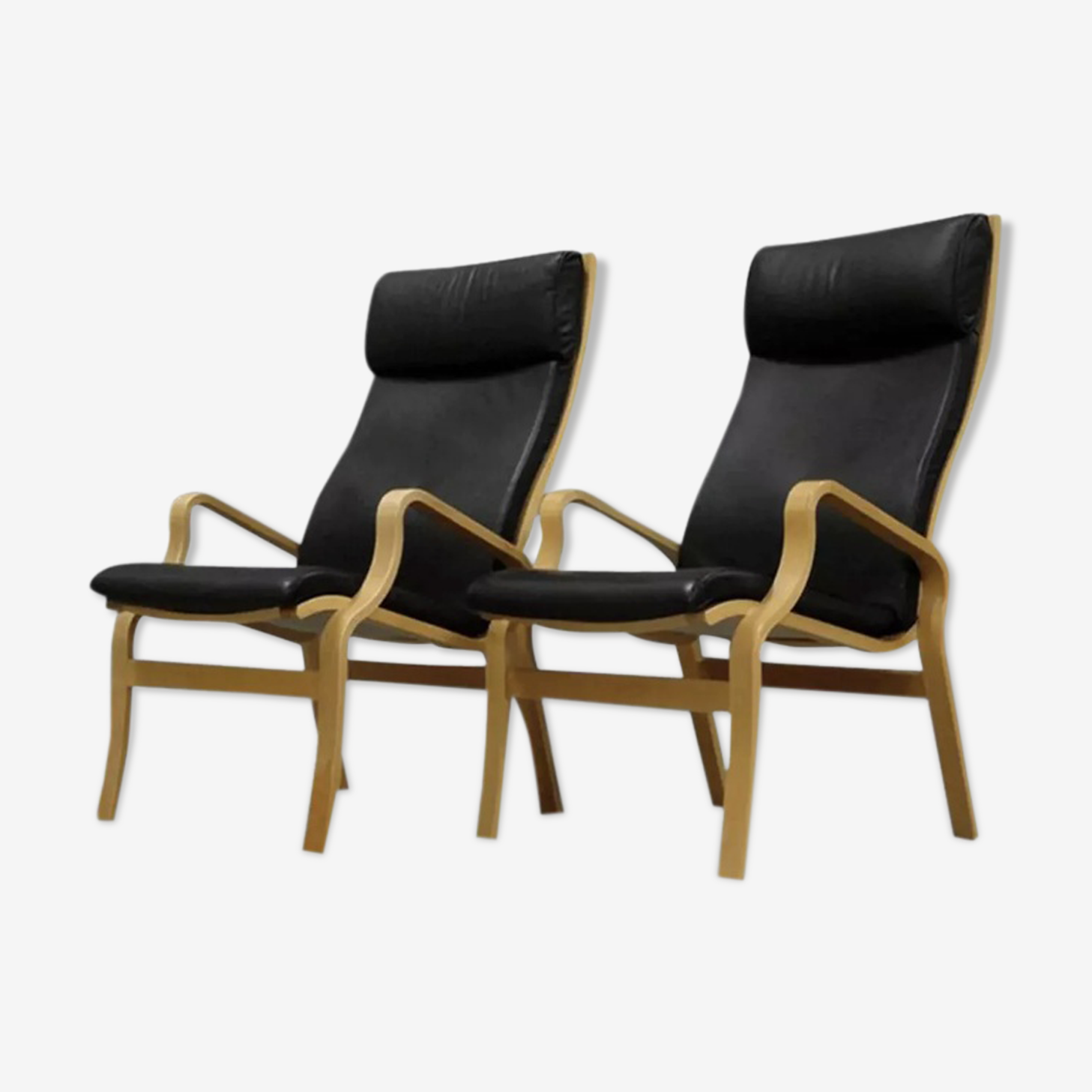 Paire de fauteuils en cuir 1970