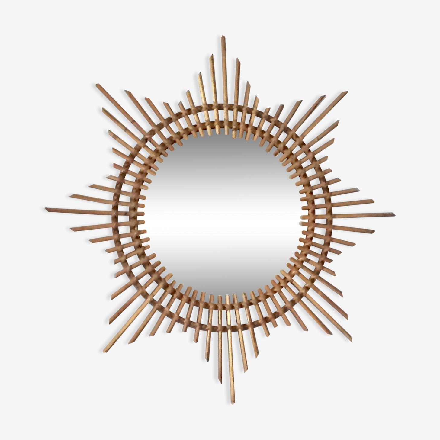 Miroir soleil en rotin 60x60cm