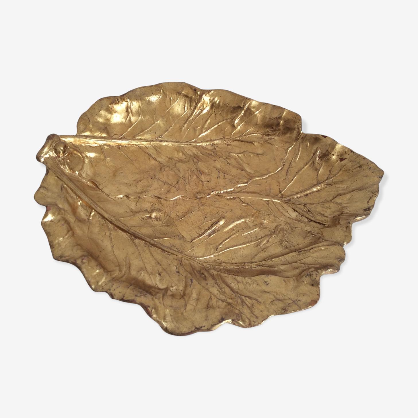 Vide poche feuilles en terre cuite doré