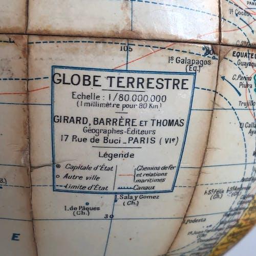 Globe terrestre Girard Barrère vintage 1950 - 24 cm