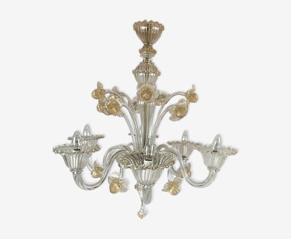Lustre en verre de Murano transparent et or