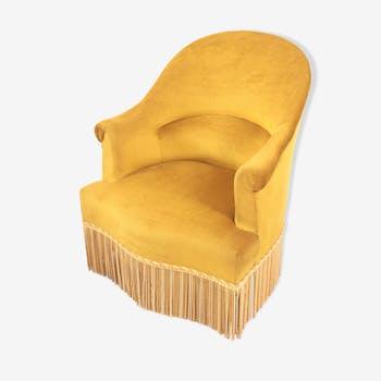 fauteuil vintage en velour jaune velours jaune. Black Bedroom Furniture Sets. Home Design Ideas
