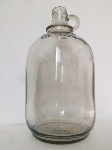 """Bonbonne dame-jeanne cylindrique transparente de """"one gallon"""""""