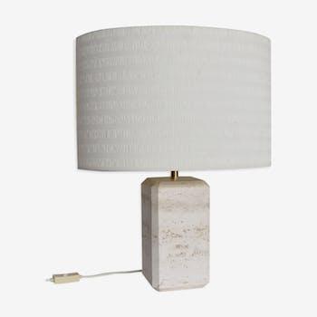 Lampe de table italienne en marbre travertin avec abat-jour original des années 1960